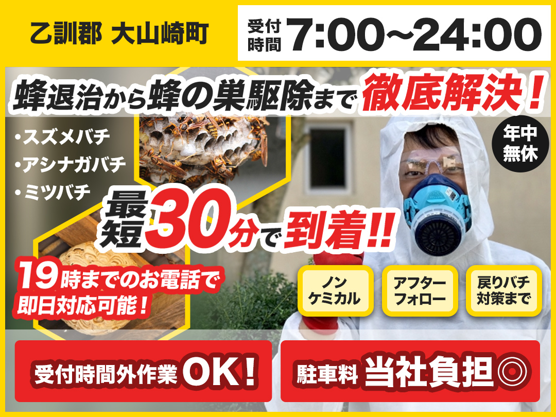 蜂の巣駆除専門救急車【乙訓郡 大山崎町エリア】のメイン画像
